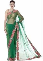 Green Hand Work Saree