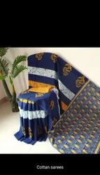 Screenprint Casual Wear Cotton Saree, With Blouse, 6.3 M