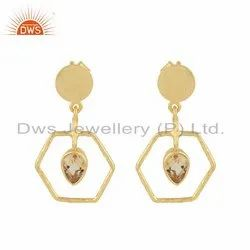 Citrine Gemstone 18k Gold Plated 925 Silver Womens Earrings