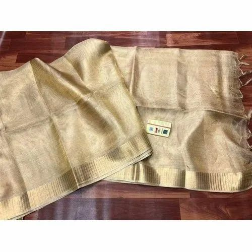Plain Pure Tissue Tussar Silk Saree, Machine Made, 6.3 M (with Blouse Piece)