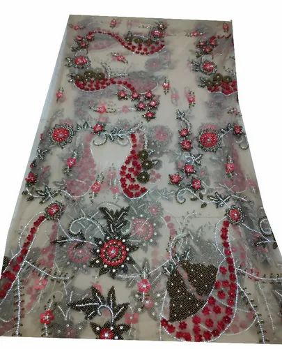 Designer Pearl Embroidery Net Fabric
