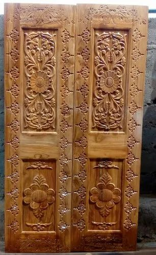 Carved Teak Pooja Door