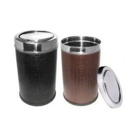 Leather Plain Swing & Push Dustbin