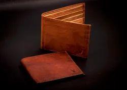 Brown Bi Fold Leather Wallet / Mens Wallet, Card Slots: 6