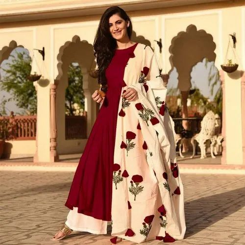 4767eb202a0 M To XXL Maroon And Cream Designer Party Wear Palazzo Suit