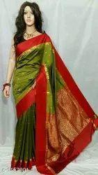 Multicolor Zardozi Work Designer Silk Saree, 5.5 m (Separate Blouse Piece)
