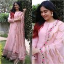 Baby Pink Long Gown with Dupatta