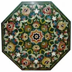 Stone Inlay Octagonal Shape Table Top