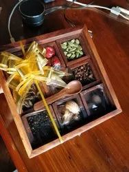 Container Brown Wooden Spice Box