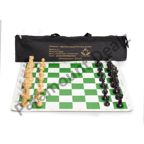 20 Inches Vinyl Chess Mat And Chess Wooden Coins