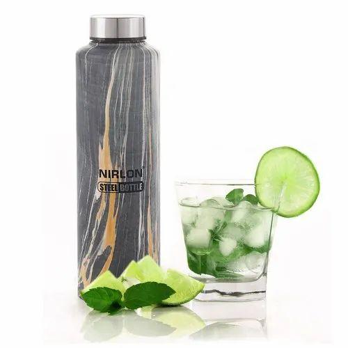 Nirlon Stainless Steel Black Marble Bottle Steel - Aqua