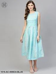 Cotton Party Wear Sky Blue Striped Sleeveless Dress with Round Neck