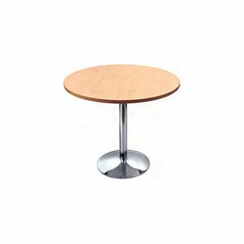 Teak Wood Stainless Steel Round Restaurant Table Size 2 5 3