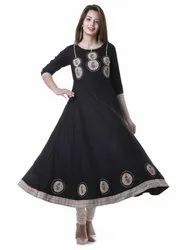 Yash Gallery Women's Rayon Patch Work Anarkali Kurta