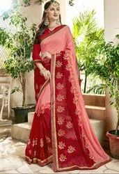 Rose Pink and Red Embroidered Partywear Saree