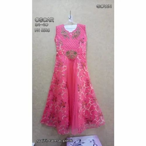 34-40 Printed Oscar Pink Girls Gown