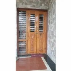 Hinged Exterior Wooden Safety Door, For Home