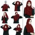 Maroon Color Stitched Chiffon Lycra Instant Hijab Scarf For Women