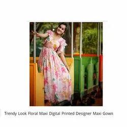 Stitch Festive Wear Trendy Look Floral Maxi Digital Printed Designer Georgette Maxi Gown, Size: S-xxxl