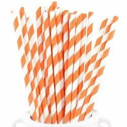 Orange Striped Paper Straw