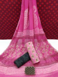 Bagru Hand Block Printed Cotton Dress Material With Chiffon Dupatta.