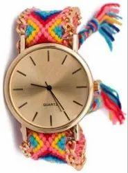 Girls Round Gold Dial Bracelet Watch