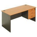 Rubber Wood Rectangular 3 Drawer Table