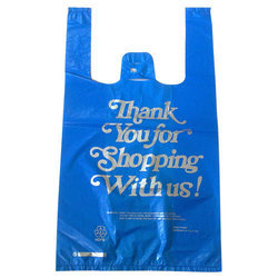 HDPE Blue T-Shirt Type Printed Carry Bag