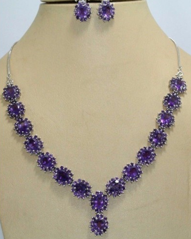 Silver Natural Amethyst Gemstone Necklace Earring Set