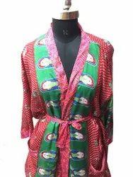 Silk Kimono, Short Vintage Silk Sari Bathrobes