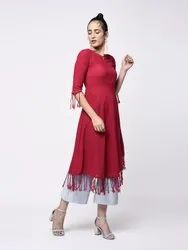 Yash Gallery Women's Cotton Slub Fringes A Line Kurta