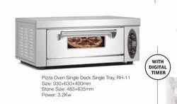 Electric Stainless Steel Pizza Oven Single Deck & Tray with Digital Timer, Capacity: 3.2KW, Size: Medium