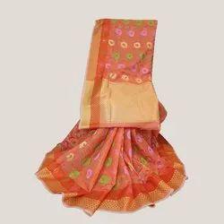 Orange Meenakari Banarasi Kora Silk Saree
