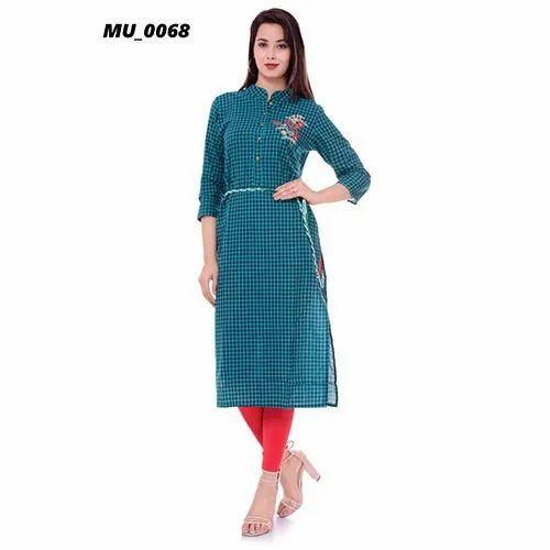 3/4th Sleeve Cotton Casual Wear A-Line Ladies Kurti, Size: S-XXL
