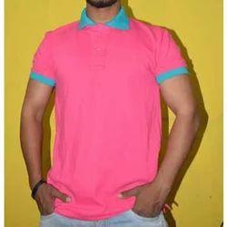 Plain Half Sleeves Mens Collar T Shirt