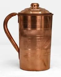 Cylindrical Poompuhar Copper Jug, Size: 4 X 4 X 8 Inch, Capacity: 1 Litre