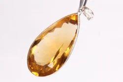 Golden Citrine Pear Shape Faceted Cut Pendant