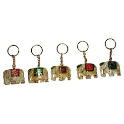 Wooden Painted Elephant Keychain