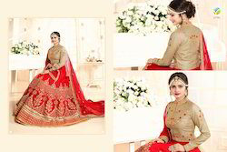 Red Colour In Dupian Silk Stylish Lehenga