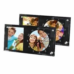 Yash Sublimation Multicolor Photo Printed Glass Clock for Office, Size: 30x16 cm