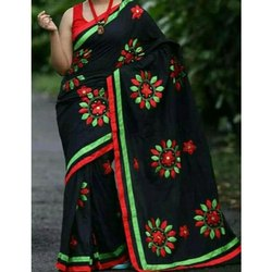 fe9cc7e7f1e Cotton Silk Pom Pom Work Red Woven Design Saree