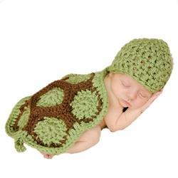 Babymoon Multi Green Turtle Crochet Costume Clothing For Newborn, Size/Dimension: Newborn