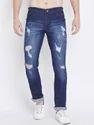 Men Cotton Blue Damage Jeans