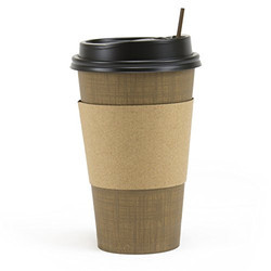 Plastic And Cardboard Sleeve Lid For Coffee Cup