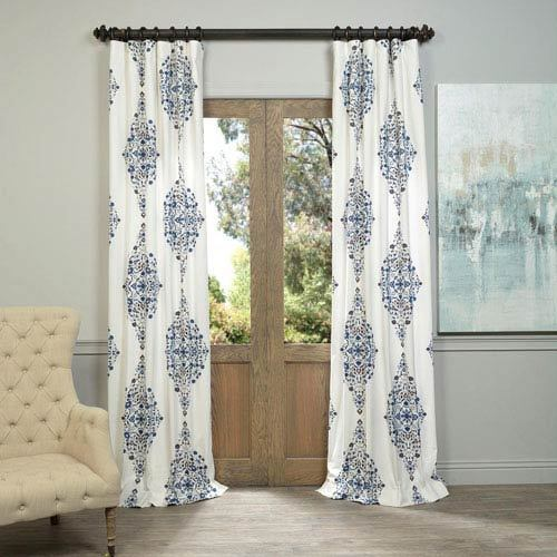 White Cotton Printed Curtains