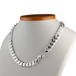 Men Steel Plated Silver Men Chain 70gm, Size: 12 To 18 Inches