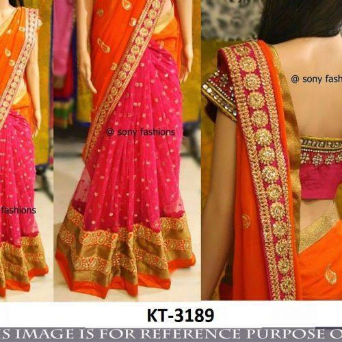Lovely Orange Pink Combination Designer Saree With Blouse