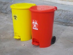 Plastic Bio Medical Waste Bin 55L with Wheels for Hospital