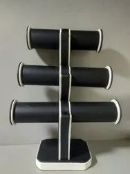 black & white Wooden 3 Roll Rexin Bangle Display Stand, Size: Heigth Upto 9 Inches