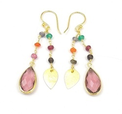 Gemstone Rosary Earrings Set